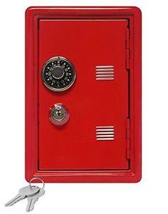 "Kid's Coin Bank Locker Safe 7"" High w/ Single Number Combination Lock & Key, Red #MiniLockersbyMagneticImpressions"