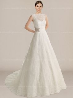 Vintage lace wedding dress is a unique design with an impressive look. It stands out for the delicate illusion Lace bodice. Natural waist is defined by a wide band that is accented with sparkle beaded details. A vintage full back is adorned with fabric covered buttons.