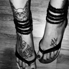 Anchor foot tattoo.  Love the swallow.