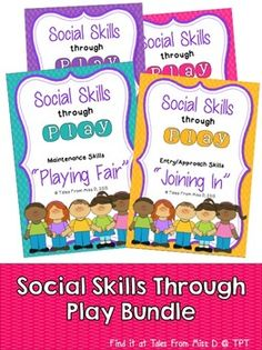 Social Skills Through Play Bundle This Bundle teaches students how to interact with each other during play. Save 25% by buying these 4 resources together. They include: Social Skills – Assertiveness Social Skills – Joining In Social Skills – Playing Fair Social Skills – Solving Problems