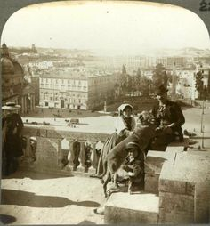 Piazza del Popolo view from the terrace of the Pincio (from stereoscopic plate)  Year 1903