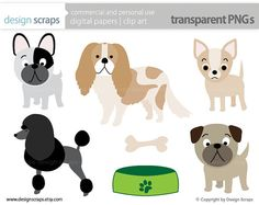 dog clip art graphics puppy french bulldog poodle by designscraps, $3.50
