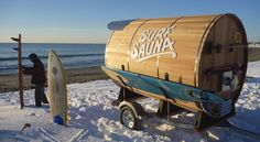 Mobile sauna - enables surfers to brave freezing temperatures. What similar service business cooling people could you start in hot, humid regions?