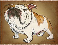Bulldog Caricature Drawing  - Bulldog Caricature Fine Art Print