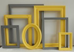Picture Frame Collection Painted Yellow  And Grey Gray Cottage Chic Gallery Wall Home Decor Wedding on Etsy, $75.00