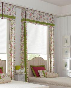 Window Treatments for Kids bedroom. Kids Bedroom decor. Photography courtesy of Lafayette Interior Fashions. Box Pleat Valance, Box Pleats, Valance Curtains, Valances, Cornice, Types Of Window Treatments, Drapery Styles, Custom Blinds, Window Sizes