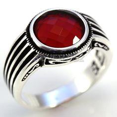 925 sterling silver menTurkish handmade ruby red stones by silversez
