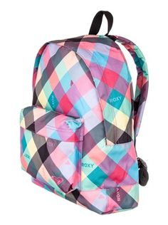 Women's Roxy Sugar Baby . This lightweight backpack masters surf-style for a cool laid-back look this summer! Great for keeping all your things in one place whether you're at the beach, school or on the road.   T Approx Measurements: 35cm (Wide) x 41cm (High) x 12cm (Depth).  The Sugar Baby is made of 100% Polyester.