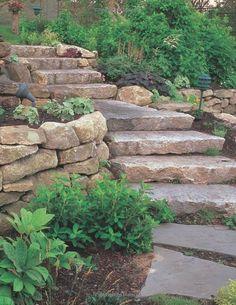 Landscaping St. Louis, natural stone steps, boulder retaining walls, and landscaping. Architectural Landscape Design