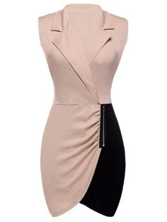 Alluring Lapel Blended Assorted Color Plain Bodycon-dress Bodycon Dress from fashionmia.com