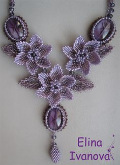 Beaded flower necklace, violet,  exclusive handmade bib necklace, glass caboshon, fashion 2013-2014, jewelry with gemstone