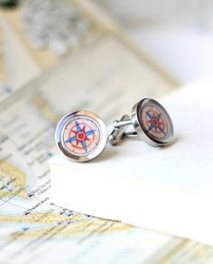 Compass cuff links men's accessory for the traveler by SarahLambertCook, $36.00 -- one of a kind
