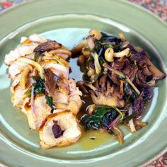 """Pan Roasted Chicken by Michael Symon. Pan fried de-boned chicken breast with skin on. """"chicken should cook in about 8-10 mins"""" Made with different types of mushrooms but I'd use button if that's all I had on hand. He uses Ramps which are seasonal but said that it has onion/garlic flavor to it so sub with that. Deglazes the pan with white wine & a little bit of butter & chicken stock. If you don't have stock """"Just use H20 in place of the stock & season it up a bit more than you ordinarily…"""