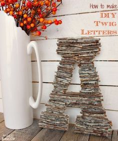 Best Country Crafts For The Home - DIY Twig Letters - Cool and Easy DIY Craft Projects for Home Decor, Dollar Store Gifts, Furniture and Kitchen Accessories - Creative Wall Art Ideas, Rustic and Farmhouse Looks, Shabby Chic and Vintage Decor To Make and Sell http://diyjoy.com/country-crafts-for-the-home #BestSellingWoodworkingProjects #DIYHomeDecorVintage #easyhomedecorcrafts #homedecoraccessories