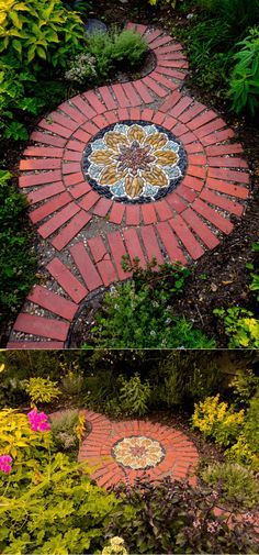 Herb Garden Mosaic | Creative Ways To Use Old Bricks In Your Garden #repurposeideas #gardeningideas #repurposed #farmfoodfamily