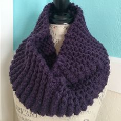 Chunky infinity scarf Handmade by me.  Chunky scarf in Eggplant.  Yarn used was Lion Brand Thick and Quick Chunky.  Scarf is machine washable and dryable Lion Brand Yarn Accessories Scarves & Wraps