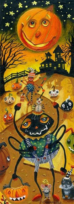 Halloween Pumpkins Spider Mouse Cat Scary Landscape ACEO Original Art Painting #Realism Jacquelin Vanderwood