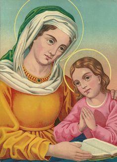 La Madonna bambina che impara a leggere con la mamma Anna.