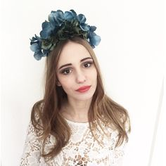 Blue Teal Green Lana Del Rey Flower Crown  - Born To Die Blue Teal Flower Crown