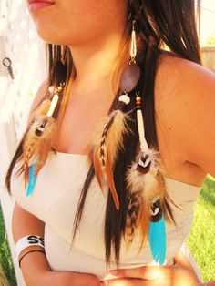 Turquoise & brown Feathers earrings by LaveraVcreation on Etsy, $26.00