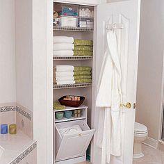 Hallway linen closet design ideas outstanding tips for a better inside cabinet modern home decorating bathroom . amazing bathroom with walk in closet ideas Bathroom Linen Cabinet, Bathroom Closet, Upstairs Bathrooms, Bathroom Storage, Bathroom Ideas, Organized Bathroom, Bathroom Small, Modern Bathrooms, Design Bathroom
