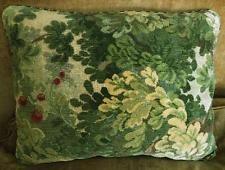 Scalamandre Linen Cut Velvet Fabric Custom Designer Throw Pillow Marly Green 1