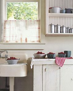 big sink + open shelves in the kitchen
