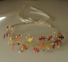 Autumn leaves wreath tiara