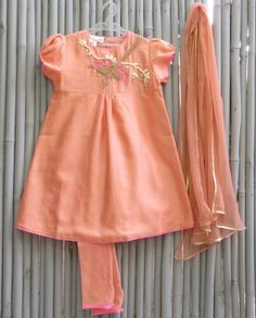 Sunset Orange Suit - kidswear - kid's lengha - kid's lehenga set ...