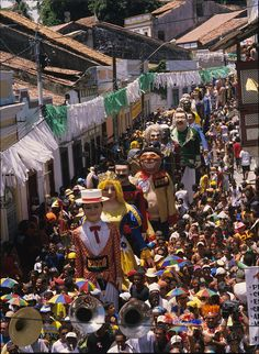 The famous giant dolls of Olinda, parading during carnival. Olinda, Pernambuco, #Brazil