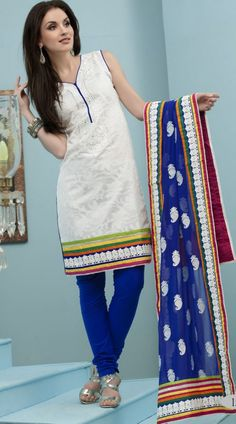 White And Royal Blue Jacquard Cotton Readymade Salwar Kameez WV151047