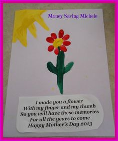 Mother's Day Craft for Kids- Fingerprint Flower