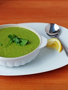 *** Yummy! GF - Creamy Broccoli & Kale Soup - I drizzled a little plain Kefir on top along w/ the lemon.