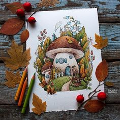 Illustration Today's Illustration is inspired by The mushroom house is my favorite drawing from Carmen. Illustration Au Crayon, Watercolor Illustration, Watercolor Paintings, House Illustration, Cool Art Drawings, Art Drawings Sketches, Sketch Drawing, Arte Sketchbook, Color Pencil Art