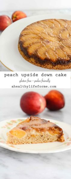 Peach Upside Down Cake {gluten free + paleo friendly} is a delicious, sweet, moist cake that highlights summer peaches perfectly. - A Healthy Life For Me