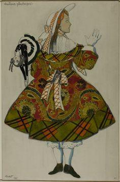 Léon Bakst, Russian, 1868-1924  Costume Design for Girl in a Green Dress, for Ballet Boutique Fantasque, 1915 - Art Institute of Chicago
