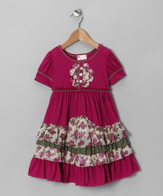 Take a look at this Fuchsia Daisy Tiered Ruffle Dress - Toddler by Pink Vanilla on #zulily today!
