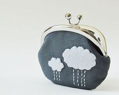 Coin purse rain clouds on charcoal  MADE TO ORDER by oktak on Etsy, $30.00