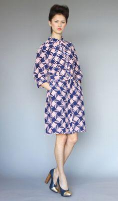Karen Walker Shirt Dress Houndstooth Crepe de Chine in Navy/Pink