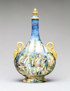 Maiolica Pilgrim Bottle~ ca. 1550 ~ Urbino, Italy. In the collection of The Metropolitan Museum of Art, NY.