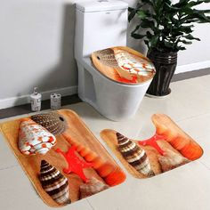 Now Available on our Store:3Pcs/Set Soft Starfish Pedestal Rug Bath Mat