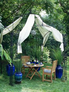 Instant Outdoor Room with metal gazebo and weather-resistant fabric panels. So beautiful.