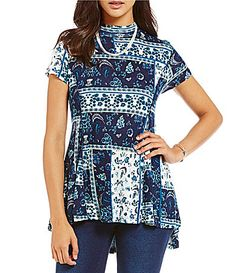 Westbound Petites Short Sleeve Mini Mock Tunic #Dillards
