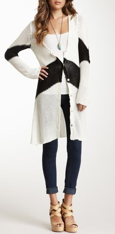 Long cardigan sweater. Not a stripe fan, but everything else works for me.