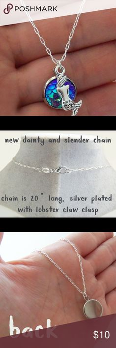 Handmade Mermaid Necklace Absolutely adorable mermaid scale charm necklace with tiny sitting mermaid charm. Comes on a dainty, lightweight slender 20 inch silver plated chain with lobster claw clasp. Handmade. Brand-new. Jewelry Necklaces