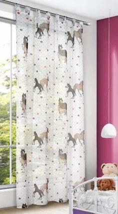 Kinderzimmer Gardine Pferd Blumen 140x245cm Vorhang Schlaufen lila pink Kinder • 23.99 EUR
