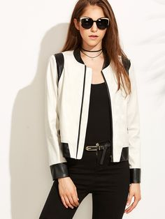 39$  Watch here - http://di3gg.justgood.pw/go.php?t=5261 - White Faux Leather Contrast Panel Bomber Jacket 39$
