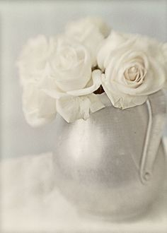 White Roses Photograph Still Life Monochromatic by JudyStalus