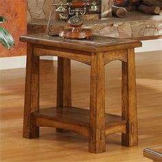 Riverside Furniture - Craftsman Home Chairside Table in Americana Oak Finish Craftsman Style Furniture, Mission Style Furniture, Riverside Furniture, Craftsman Style Homes, Craftsman Decor, Craftsman Frames, Craftsman Lighting, Bungalow Homes, Arts And Crafts Furniture