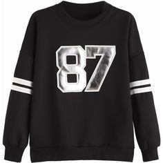 Black Numbers Patch Varsity Sweatshirt (29 AUD) ❤ liked on Polyvore featuring tops, hoodies, sweatshirts, striped top, striped long sleeve top, patterned tops, striped sweatshirt and long sleeve sweatshirt